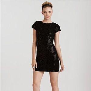 Alice & Olivia Black Faux Snakeskin Sequin Dress